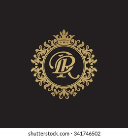 DR initial luxury ornament monogram logo