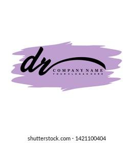 DR initial signature logo. handwriting logo template vector,