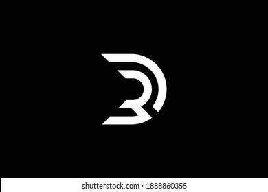 DR letter logo design on luxury background. RD monogram initials letter logo concept. DR icon design. RD elegant and Professional white color letter icon design on black background.