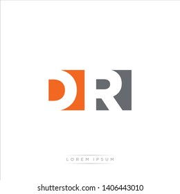 DR Logo Letter with Modern Negative space - Orange and Grey Color EPS 10
