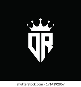 DR logo monogram emblem style with crown shape design template