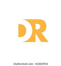 DR Logo. Vector Graphic Branding Letter Element. White Background