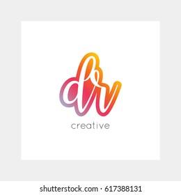 DR logo, vector. Useful as branding symbol, app icon, alphabet element, clip-art.