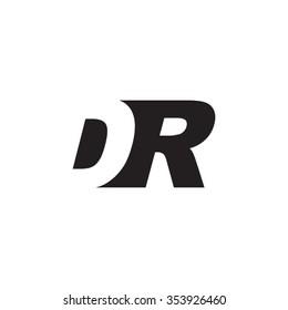 DR negative space letter logo
