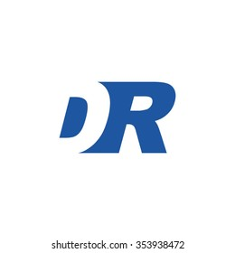 DR negative space letter logo blue