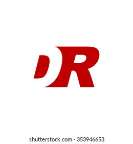 DR negative space letter logo red