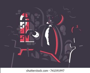 Dracula cartoon character. Vampire bloodsucker at night in ancient cemetery. Vector illustration