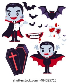 Dracula Character illustration with Icon set isolated on White Background