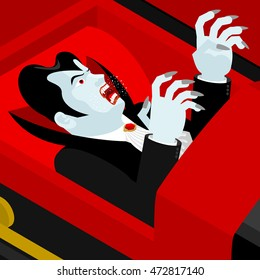 Dracula in coffin. Vampire Count in an open coffin. Ghoul in casket. Retro monster