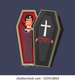 dracula in coffins. character design. halloween concept. typographic design - vector illustration