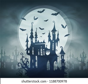 Dracula dark castle silhouette with bats and giant moon. Vector halloween card template.