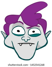 Dracula head character in cartoon style with a sceptic expression face