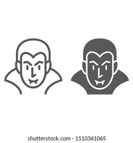 Dracula line and glyph icon, halloween and evil, vampire sign, vector graphics, a linear pattern on a white background, eps 10.