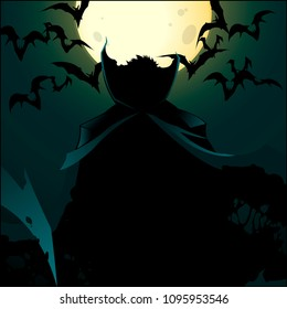 Dracula on a blue background with moon. A vampire in  cloak surrounded by bats. Creepy silhouette of a vampire. Stock for the printed flyer