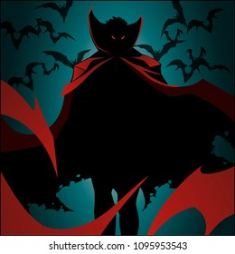 Dracula on a blue background. A vampire in a red cloak surrounded by bats. Creepy silhouette of a vampire. Stock for the printed flyer