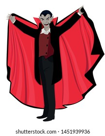 Dracula opened the cape. Vector illustration isolated on white background.