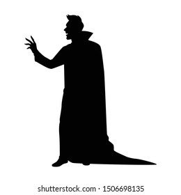 Dracula silhouette vector, Halloween devil in black and white.