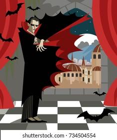 dracula vampire evil villain monster in ancient mansion castle