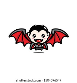 dracula vector mascot design with bat wings