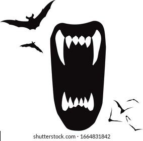 Draculas Vampire Bite with Bats Vector Graphic Halloween Illustration