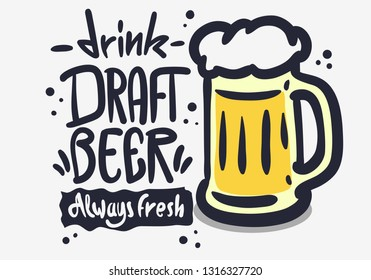 Draft Beer Hand Drawn Vector Design On A White Background