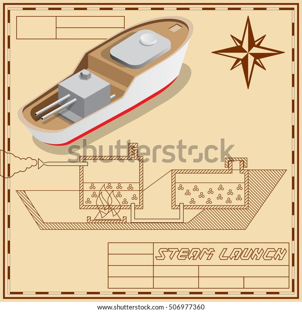 Draft Boat On Steam Engine Isometric Stock Vector (Royalty