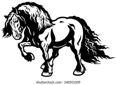 draft horse black and white vector illustration