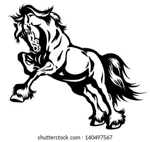 draft horse in motion black and white illustration