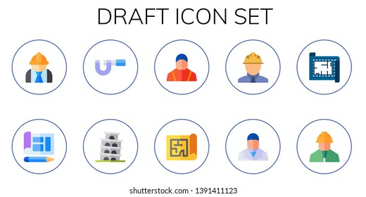 draft icon set. 10 flat draft icons.  Simple modern icons about  - engineering, blueprint, micrometer, pisa, engineer