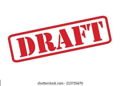 """""""DRAFT"""", roter Gummistempel, Vektorgrafik auf weißem Hintergrund."""