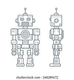 Draft a Vintage Robot in Simple Line Style Front and Side Views