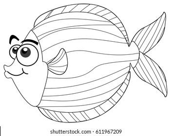 Drafting animal for cute fish illustration