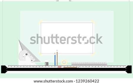 Drafting Table Working Drawing Sketch Design Stock Vector Royalty