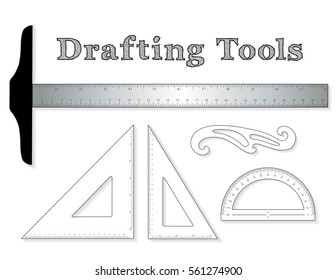 Drafting tools for architecture and engineering: aluminum T-square with inch and centimeter measure, 45 degree triangle, 60 degree triangle, ruler, French Curve and protractor, vector illustration.