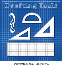 Drafting Tools for Architecture, Engineers, Science and Math, 45 degree triangle, 60 degree triangle, ruler, French Curve, protractor, vector illustration on blueprint background.