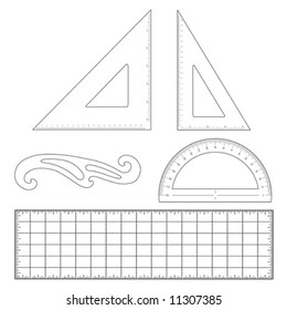Drafting tools for engineering and architecture: 45 degree triangle, 60 degree triangle, ruler, French Curve, protractor, ruler. EPS8 compatible.