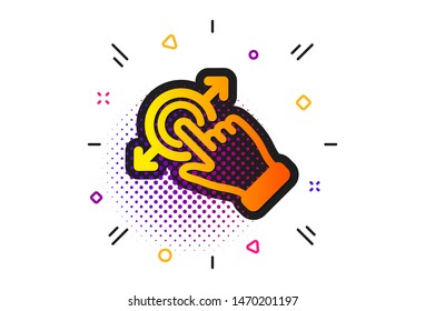 Drag and drop arrow sign. Halftone circles pattern. Touchscreen gesture icon. Swipe action symbol. Classic flat touchscreen gesture icon. Vector