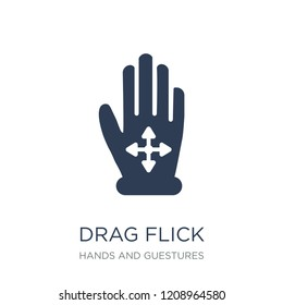 Drag Flick icon. Trendy flat vector Drag Flick icon on white background from Hands and guestures collection, vector illustration can be use for web and mobile, eps10