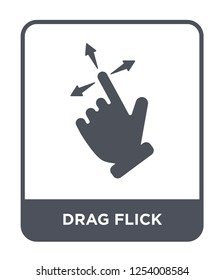 drag flick icon vector on white background, drag flick trendy filled icons from Hands and guestures collection, drag flick simple element illustration