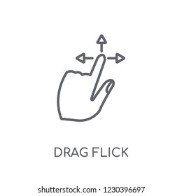 Drag Flick linear icon. Modern outline Drag Flick logo concept on white background from Hands collection. Suitable for use on web apps, mobile apps and print media.