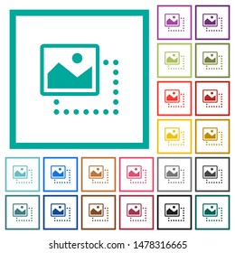 Drag image to top left flat color icons with quadrant frames on white background