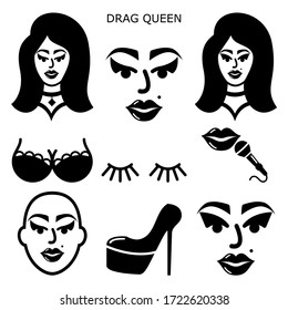Drag queen vector icons set, drag show, drag performance, man dressed as sexy woman idea  Drag queen illustration, man wearing make-up, wig and eyelashes performing on stage