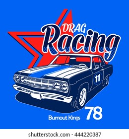 Drag Racing old car for vector printing.Vintage race car for printing.Vintage T-shirt Graphics.