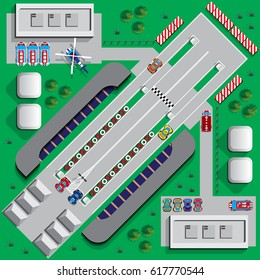 Drag racing. View from above. Vector illustration.