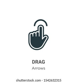 Drag vector icon on white background. Flat vector drag icon symbol sign from modern arrows collection for mobile concept and web apps design.