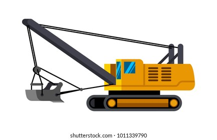 Dragline excavator minimalistic icon isolated. Construction equipment isolated vector. Heavy equipment vehicle. Color icon illustration on white background.