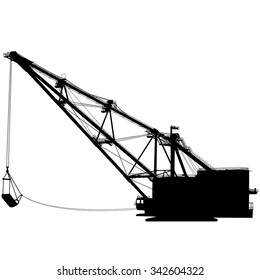 Dragline walking excavator with a ladle. Vector illustration.