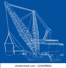 Dragline walking excavator. Vector rendering of 3d. Wire-frame style. The layers of visible and invisible lines are separated