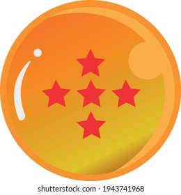 Dragon Ball series, vector of Dragon Ball Five Star with gold color Good for icon from Dragon Ball's fans in the world