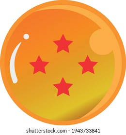 Dragon Ball series, vector of Dragon Ball Four Star with gold color Good for icon from Dragon Ball's fans in the world